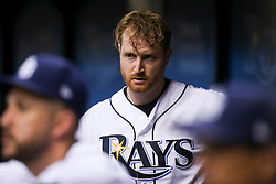 September 16, 2017 - St. Petersburg, Florida, U.S. - WILL VRAGOVIC       Times.Tampa Bay Rays starting pitcher Alex Cobb (53) in the dugout after being pulled from the game in the sixth inning of the game between the Boston Red Sox and the Tampa Bay Rays at Tropicana Field in St. Petersburg, Fla. on Saturday, Sept. 16, 2017. (Credit Image: © Will Vragovic/Tampa Bay Times via ZUMA Wire)