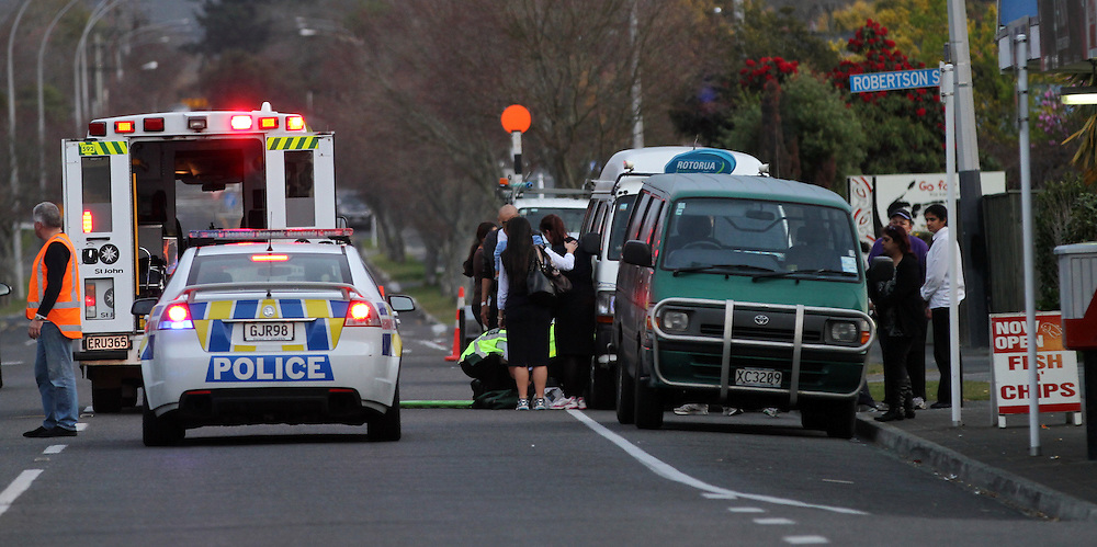 A child has been critically injured in an accident on Ranolf Street, Rotorua, New Zealand, Tuesday, September 10, 2013. Credit:SNPA / Peter Graney