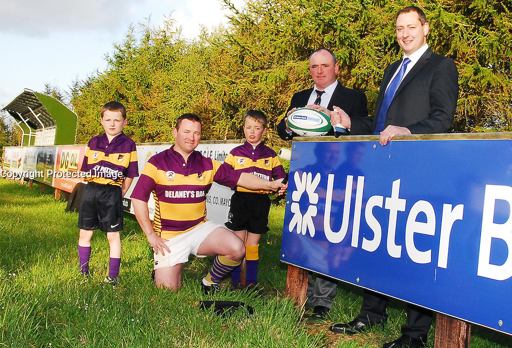 Gearing up for rugby club renovation work ..Ulster Bank's John Dempsey meeting with Ballyhaunis Rugby Club 1st's team captain Seamus Horan and club president Tony Henry  ahead of the renovations work at the club winning the provincial award for Ulster Bank's Rugby Force campaign..Club mini's Jason Hession and Phillip Costello also came along to lend their support.. ..Pic Conor McKeown
