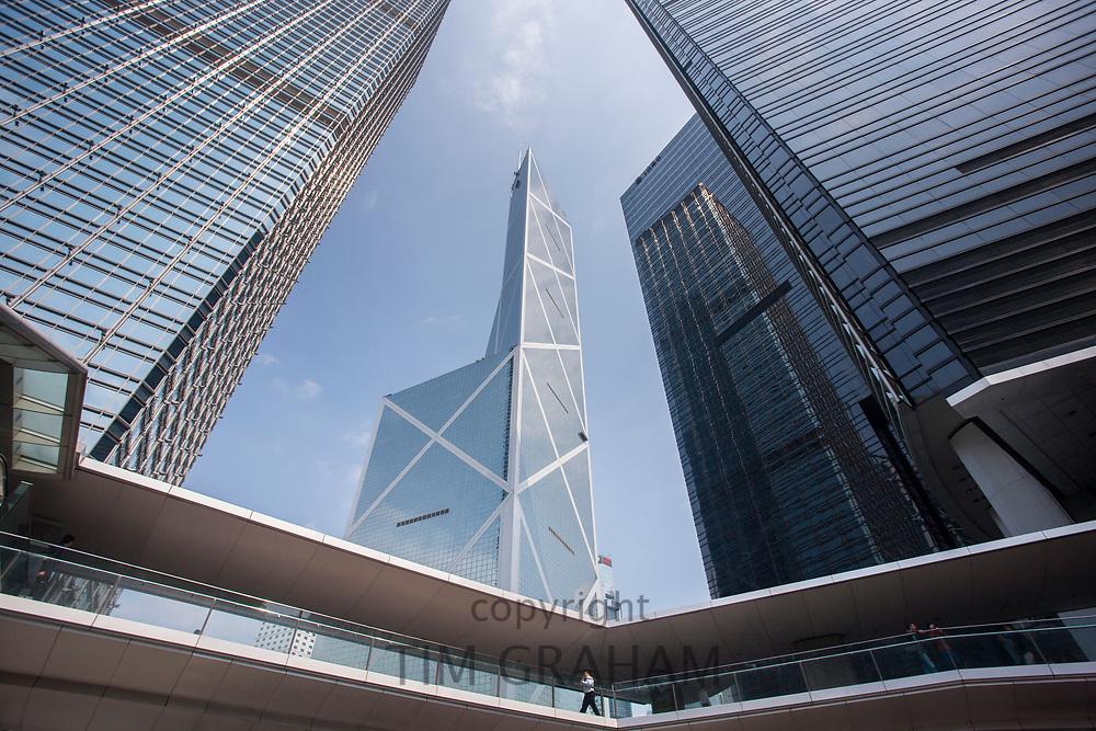 Bank of China near ICBC and Citibank towers and Cheung Kong Center in the financial district of Hong Kong, China