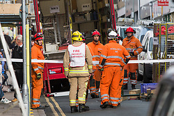 © Hugo Michiels Photography. 31/10/2017. Brighton, UK. Parts of the scaffolding has collapsed outside the Kings Arms pub, George Street in Brighton's Kemptown area today 31st October 2017.. Photo credit: Hugo Michiels Photography