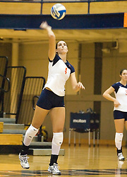 Virginia Cavaliers OH Lauren Dickson (4)..The Virginia Cavaliers Volleyball team defeated the Florida State Seminoles 3 games to 1 at Memorial Gymnasium in Charlottesville, VA on September 20, 2007.