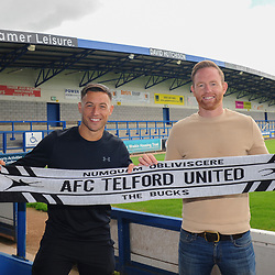 TELFORD COPYRIGHT MIKE SHERIDAN AFC Telford new signing Lee Vaughan with manager Gavin Cowan at the New Bucks Head Stadium on Friday, June 6, 2020.<br /> <br /> Picture credit: Mike Sheridan/Ultrapress<br /> <br /> MS202021-001
