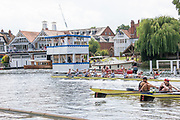 Henley on Thames, England, United Kingdom, 7th July 2019, Henley Royal Regatta, Finals Day, The Thames Challenge Cup, Roeivereeniging Studenten Vreie Universiteit Okeanos, Netherlands, start their celebratings after crossing the line ahead of  Thames Rowing Club A, Henley Reach, [© Peter SPURRIER/Intersport Image]<br />