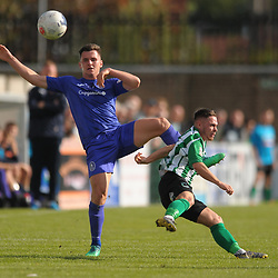 TELFORD COPYRIGHT MIKE SHERIDAN Ross White of Telford clears from Callum Roberts of Blyth during the National League North fixture between Blyth Spartans and AFC Telford United at Croft Park on Saturday, September 28, 2019<br /> <br /> Picture credit: Mike Sheridan<br /> <br /> MS201920-023