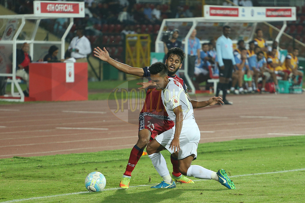 Souvik Chakrabarti of Jamshedpur FC during match 2 of the Hero Indian Super League between NorthEast United FC and Jamshedpur FC held at the Indira Gandhi Athletic Stadium, Guwahati India on the 18th November 2017<br /> <br /> Photo by: Ron Gaunt / ISL / SPORTZPICS