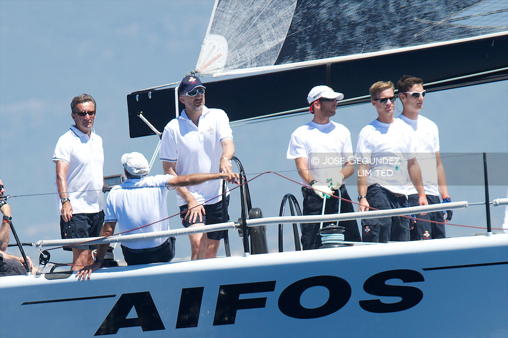 Prince Felipe of Spain participate at Sailing's 2013 Copa del Rey in Palma de Mallorca, Spain