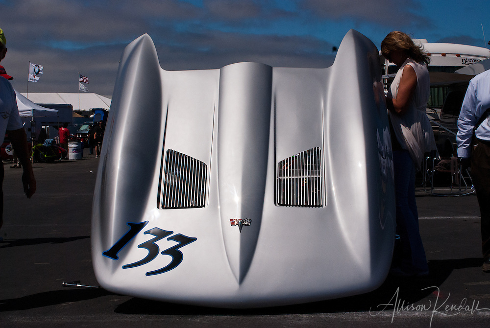 Abstracted automotive details of a Corvette seen at Laguna Seca during the Reunion events of Monterey Car Week