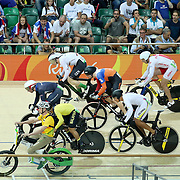Track Cycling - Olympics: Day 11 Competitors including  Jason Kenny of Great Britain break early requiring a restart in the Men's Keirin Gold Medal race during the track cycling competition at the Rio Olympic Velodrome August 16, 2016 in Rio de Janeiro, Brazil. (Photo by Tim Clayton/Corbis via Getty Images)