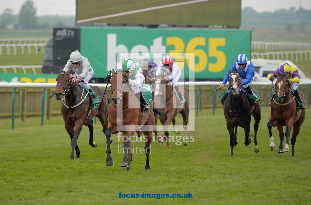 Victory Angel ridden by Silvestre De Sousa (green and white) wins bet365.com handicap Stakes on the Thursday of the bet365 Craven Meeting at the Rowley Mile course, Newmarket<br /> Picture by Martin Lynch/Focus Images Ltd 07501333150<br /> 20/04/2017