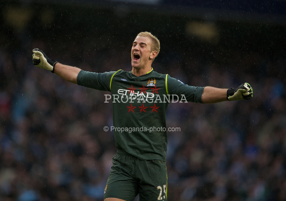 MANCHESTER, ENGLAND - Sunday, January 22, 2011: Manchester City's goalkeeper Joe Hart celebrates his side's third goal against Tottenham Hotspur during the Premiership match at the City of Manchester Stadium. (Pic by David Rawcliffe/Propaganda)