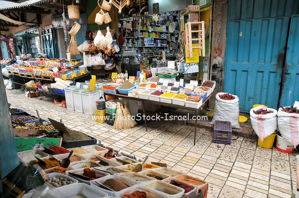 Israel, western Galilee, Acre, The Old City market herbs and spice stand