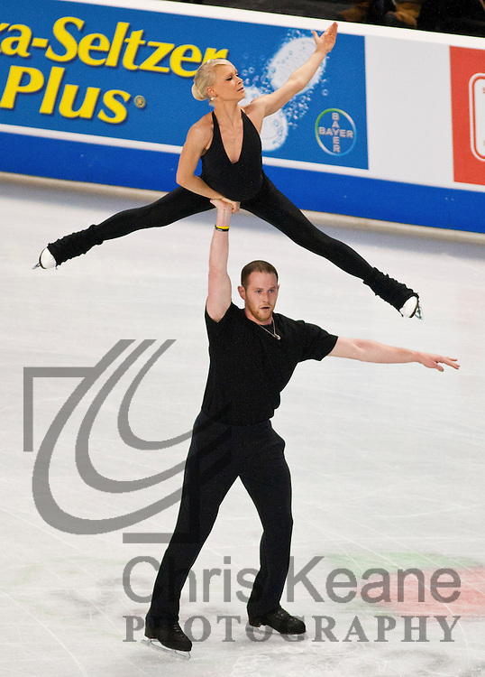 John Coughlin lifts his parter Caitlin Yankowskas into the air while practicing their pairs routine during the U.S. Figure Skating Championships in Greensboro, North Carolina on January 25, 2011. REUTERS/Chris Keane (UNITED STATES)