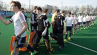 ROTTERDAM -  Shake hands,   Test Match Hockey : Netherlands Boys U18  v England U18 . COPYRIGHT KOEN SUYK