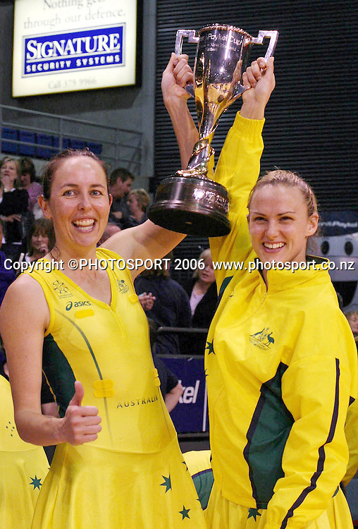 Australian Captain Liz Ellis and Vice Captain Sharelle McMahon with the Fisher and Paykel Series trophy after winning the Netball International test series between the New Zealand Silver Ferns and Australia at Westpac Stadium, Christchurch, New Zealand on Monday 16 October, 2006. Australia won the match 46-40 and the series 2-1. Photo: Hagen Hopkins/PHOTOSPORT