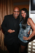 "l to r: DJ WIZ and Sandra "" Pep "" Denton at the Celebration for the Finale episode of the VH1 hit reality show ' Let's talk about Pep held at the Comix Club on March 1, 2010 in New York City."