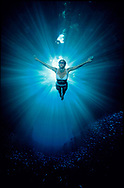 Swimmer underwater in a sunburst of shafting light. Tonga. South Pacific.