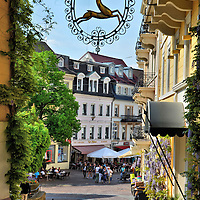 Ornate Wrought-iron Guild Sign in Baden-Baden, Germany<br />