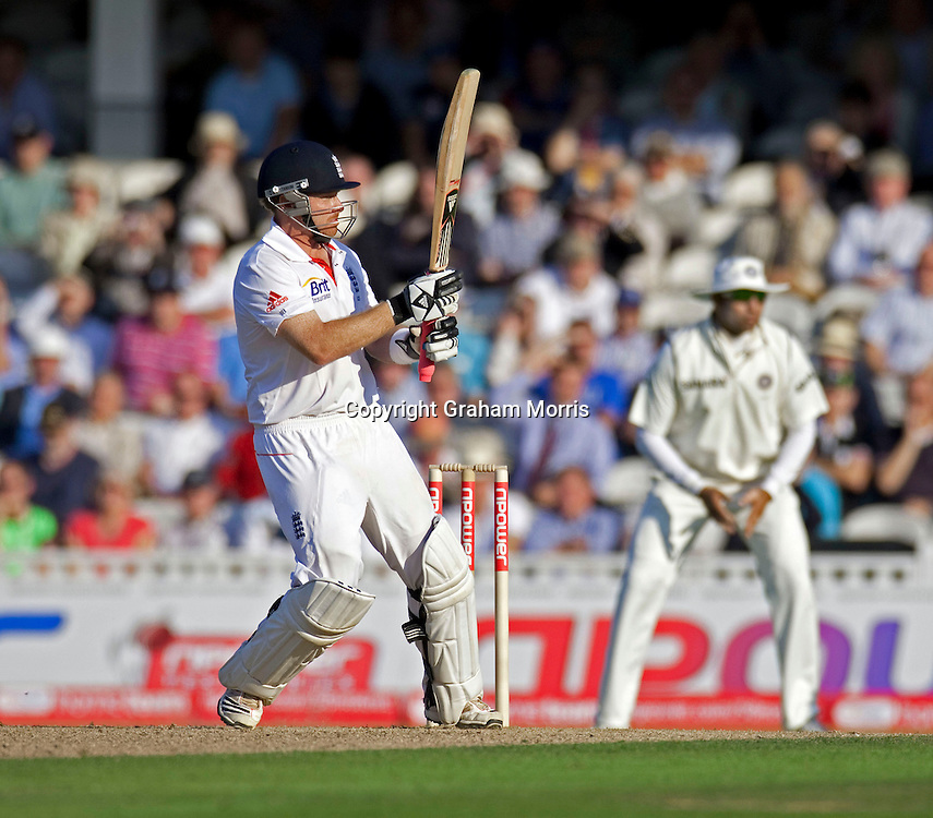 Ian Bell bats during his century in the fourth and final npower Test Match between England and India at the Oval, London.  Photo: Graham Morris (Tel: +44(0)20 8969 4192 Email: sales@cricketpix.com) 19/08/11