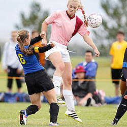 Helena High's Katie Martin intercepts a a Big Sky pass midfiied during Saturday's win 4-1 at Siebel Soccer Complex.