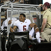 Boston College defensive back C.J. Jones (6) is carted off the field with an injury during an NCAA football game between the Boston College Eagles and the UCF Knights at Bright House Networks Stadium on Saturday, September 10, 2011 in Orlando, Florida. (AP Photo/Alex Menendez)
