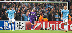 MANCHESTER, ENGLAND - Wednesday, October 2, 2013: Manchester City's goalkeeper Joe Hart looks dejected after Bayern Munich score the third goal during the UEFA Champions League Group D match at the City of Manchester Stadium. (Pic by David Rawcliffe/Propaganda)