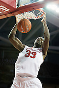 FAYETTEVILLE, AR - NOVEMBER 13:  Moses Kingsley #33 of the Arkansas Razorbacks dunks the ball during a game against the Southern University Jaguars at Bud Walton Arena on November 13, 2015 in Fayetteville, Arkansas.  The Razorbacks defeated the Jaguars 86-68.  (Photo by Wesley Hitt/Getty Images) *** Local Caption *** Moses Kingsley