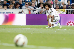 23.05.2015, Estadio Santiago Bernabeu, Madrid, ESP, Primera Division, Real Madrid vs FC Getafe, 38. Runde, im Bild Real Madrid's Marcelo Vieira // during the Spanish Primera Division 38th round match between Real Madrid CF and Getafe FCat the Estadio Santiago Bernabeu in Madrid, Spain on 2015/05/23. EXPA Pictures &copy; 2015, PhotoCredit: EXPA/ Alterphotos/ Acero<br /> <br /> *****ATTENTION - OUT of ESP, SUI*****