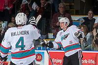 KELOWNA, CANADA - APRIL 12: Cal Foote #25 of Kelowna Rockets celebrates a goal against the Victoria Royals on April 12, 2016 at Prospera Place in Kelowna, British Columbia, Canada.  (Photo by Marissa Baecker/Shoot the Breeze)  *** Local Caption *** Cal Foote;