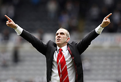 PAOLO DI CANIO CELEBRATES.NEWCASTLE V SUNDERLAND.NEWCASTLE UNITED V SUNDERLAND  BARCLAYS PREMIER LEAGUE.ST.JAMES, NEWCASTLE, ENGLAND.14 April 2013.GAQ67432..  .WARNING! This Photograph May Only Be Used For Newspaper And/Or Magazine Editorial Purposes..May Not Be Used For Publications Involving 1 player, 1 Club Or 1 Competition .Without Written Authorisation From Football DataCo Ltd..For Any Queries, Please Contact Football DataCo Ltd on +44 (0) 207 864 9121