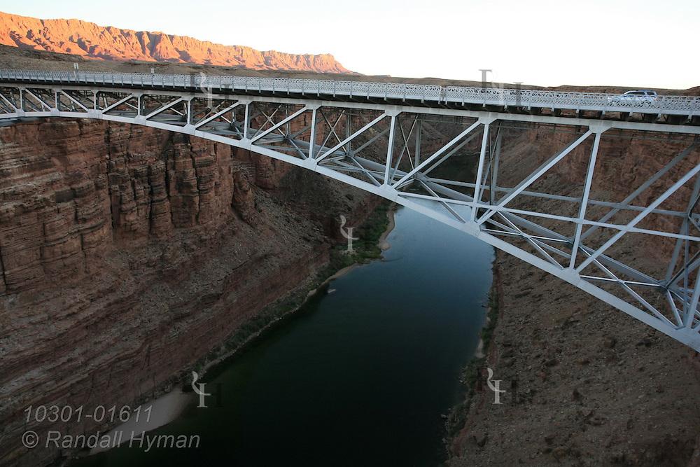September sunset at Echo Cliffs and Navajo Bridge along highway connecting South Rim and North Rim of Grand Canyon National Park, Arizona.