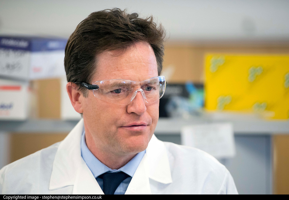 © Licensed to London News Pictures. 20/05/2014. Oxford, UK Deputy Prime Minister Nick Clegg visits Begbroke Science Park as part of his 2014 European and Local Election Tour in Oxford today 20th May 2014. Photo credit : Stephen Simpson/LNP