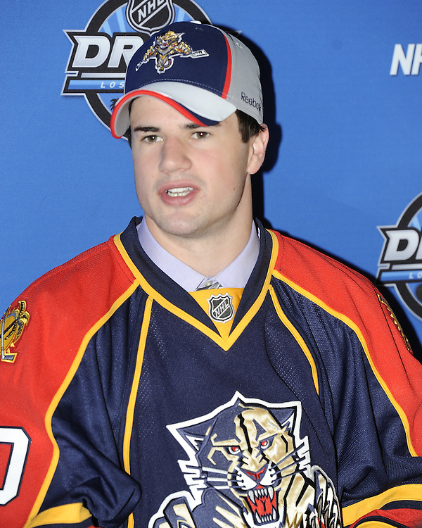 John McFarland of the Sudbury Wolves was a second round pick of the Florida Panthers at the 2010 NHL Entry Draft at the Staples Centre in Los Angeles, CA. Photo by Aaron Bell/CHL Images