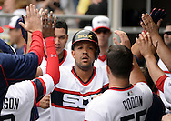 CHICAGO - JUNE 12:  Jose Abreu #79 of the Chicago White Sox celebrates with teammates in the dugout after hitting a home run in the sixth inning against the Kansas City Royals on June 12, 2016 at U.S. Cellular Field in Chicago, Illinois.  The Royals defeated the White Sox 3-1.  (Photo by Ron Vesely)    Subject:  Jose Abreu
