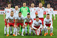 Chorzow, Poland - 2018 March 27: (L-R) Upper row: Taras Romanczuk and Michal Pazdan and goalkeeper Wojciech Szczesny and Artur Jedrzejczyk and Kamil Glik and Lukasz Piszczek and down row Kamil Grosicki and Maciej Rybus and Slawomir Peszko and Robert Lewandowski and Piotr Zielinski all from Poland pose to the picture while Poland v South Korea International Friendly Soccer match at Stadion Slaski on March 27, 2018 in Chorzow, Poland.<br /> <br /> Mandatory credit:<br /> Photo by © Adam Nurkiewicz / Mediasport<br /> <br /> Adam Nurkiewicz declares that he has no rights to the image of people at the photographs of his authorship.<br /> <br /> Picture also available in RAW (NEF) or TIFF format on special request.<br /> <br /> Any editorial, commercial or promotional use requires written permission from the author of image.