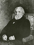 'Ivan Sergeyevich Turgenev (1818-1883) was a Russian novelist, short story writer, and playwright. From the portrait by Ilia Repine.'