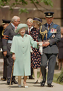 Prince Charles with Queen Elizabeth, the Queen Mother, Elizabeth Bowes-Lyons. The 50th Anniversary of V.E Day at St. Paul's, London, England on 8th of May, 1995. Pic Jayne Russell 8.05.1995