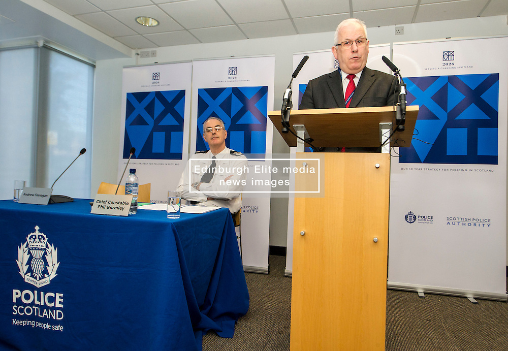 Pictured: Chief Constable Phil Gormley and Scottish Police Authority (SPA) Chairman Andrew Flanagan<br /> <br /> At Police Scotland HQ at Fettes Row in Edinburgh today , Chief Constable Phil Gormley and Scottish Police Authority (SPA) Chairman Andrew Flanagan launched a long-term strategy for policing and a public consultation to help shape it.  <br /> <br /> Ger Harley | EEm 27 February 2017