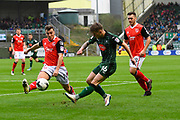 Matthew Kennedy (16) of Plymouth Argyle attempts to cross the ball which is blocked by (9) Morecambe during the EFL Sky Bet League 2 match between Plymouth Argyle and Morecambe at Home Park, Plymouth, England on 18 March 2017. Photo by Graham Hunt.