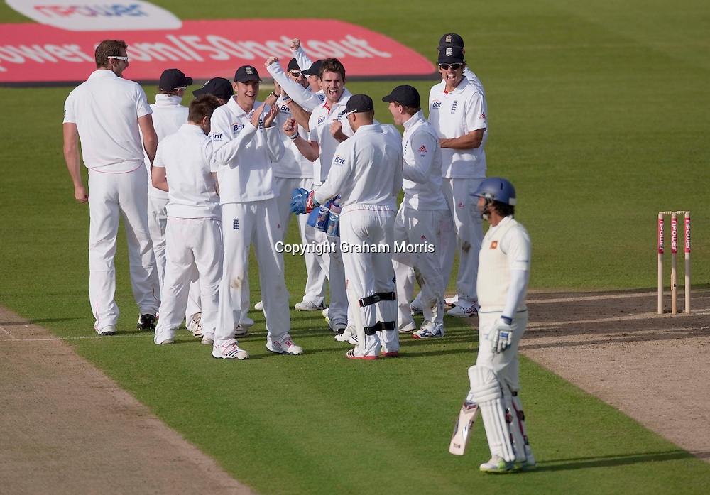 Kumar Sangakkara out caught Matt Prior off James Anderson (after a referral by captain Andrew Strauss) during the first npower Test Match between England and Sri Lanka at the SWALEC Stadium, Cardiff.  Photo: Graham Morris (Tel: +44(0)20 8969 4192 Email: sales@cricketpix.com) 26/05/11