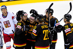 Thomas Greilinger of Germany, Daniel Kreutzer of Germany, Robert Dietrich of Germany, Justin Krueger of Germany and Alexander Barta of Germany celebrate during ice-hockey match between Germany and Czech republic of Group E in Qualifying Round of IIHF 2011 World Championship Slovakia, on May 9, 2011 in Orange Arena, Bratislava, Slovakia. Czech republic defeated Germany 5-2. (Photo By Vid Ponikvar / Sportida.com)