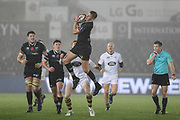Tom Williams of the Ospreys takes the high-ball during the Anglo Welsh Cup match between Ospreys and Wasps at The Liberty Stadium, Swansea, Wales on 10 November 2017. Photo by Andrew Lewis.