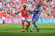Arsenal Ladies forward Danielle Carter and Chelsea Ladies midfielder Drew Spence challenge for the ball during the SSE Women's FA Cup Final match between Chelsea Ladies and Arsenal Ladies at Wembley Stadium, London, England on 14 May 2016. Photo by Shane Healey.