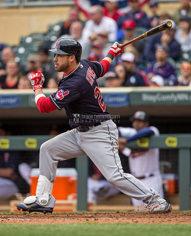 MINNEAPOLIS, MN- APRIL 19: Jason Kipnis #22 of the Cleveland Indians bats against the Minnesota Twins on April 19, 2015 at Target Field in Minneapolis, Minnesota. The Twins defeated the Indians 7-2. (Photo by Brace Hemmelgarn) *** Local Caption *** Jason Kipnis