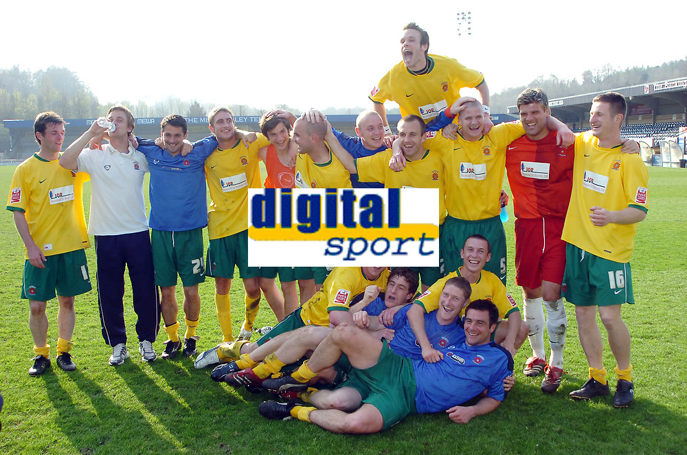 Photo: Kevin Poolman.<br />Wycombe Wanderers v Hartlepool United. Coca Cola League 2. 14/04/2007. Hartlepool players celebrate going up.