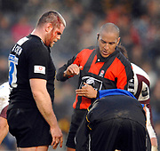 Wycombe. GREAT BRITAIN, Peter BRACKEN REceives attention for a cut head, referee David ROSE, watches, during the, Guinness Premiership game between, London Wasps and Leicester Tigers on 25/11/2006, played at the Adam Park, ENGLAND. Photo, Peter Spurrier/Intersport-images]