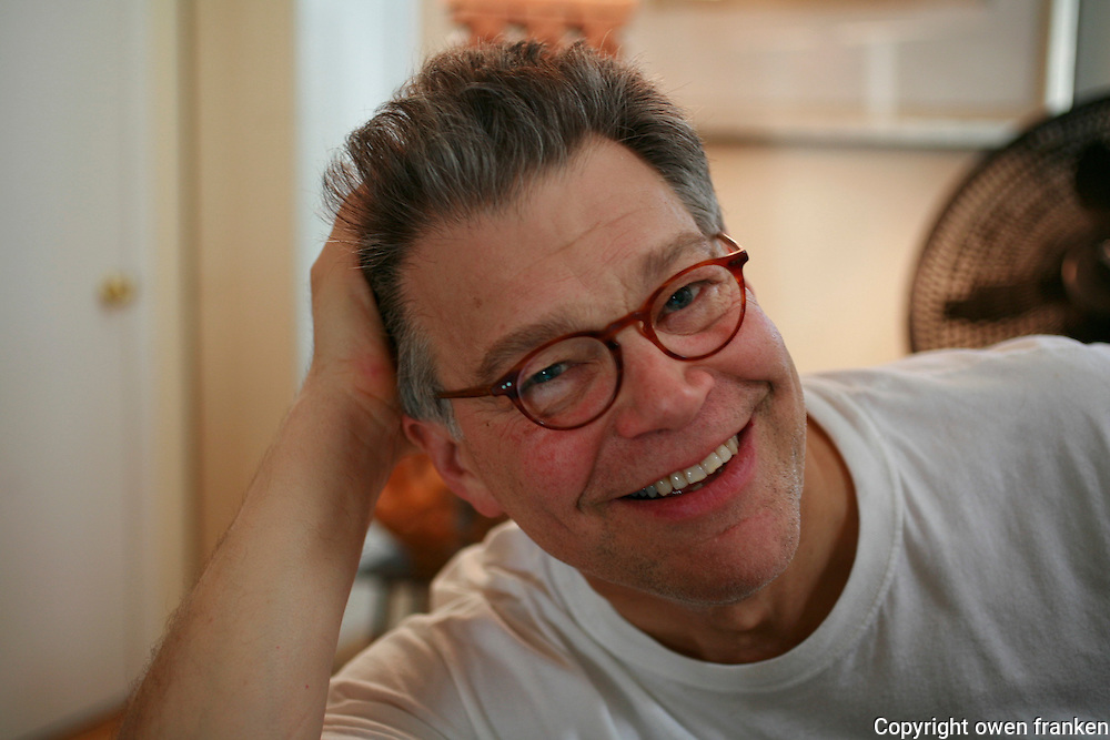 Senator Al Franken relaxing at home in Washington, DC