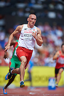 Jakub Krzewina of Poland competes in men's 400 meters qualification during the First Day of the European Athletics Championships Zurich 2014 at Letzigrund Stadium in Zurich, Switzerland.<br /> <br /> Switzerland, Zurich, August 12, 2014<br /> <br /> Picture also available in RAW (NEF) or TIFF format on special request.<br /> <br /> For editorial use only. Any commercial or promotional use requires permission.<br /> <br /> Photo by © Adam Nurkiewicz / Mediasport