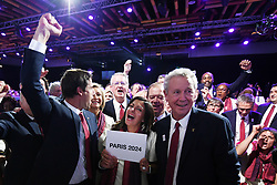 Handout photo - Co-President of Paris 2024 candidacy Tony Estanguet, Mayor of Paris Anne Hidalgo and IOC member Guy Drut celebrate the victory during the Olympic and Paralympic Games 2024 host city election, Lima, Peru, September 13, 2017. Photo by Paris 2024/ABACAPRESS.COM