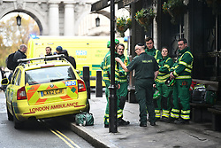 © Licensed to London News Pictures. 04/11/2019. London, UK. An Incident Response Unit at Derby Gate entrance to The Houses of Parliament in Westminster. There are reports that a section of Portcullis House has been cordoned off by emergency services. A general election has been called on December 12th in an attempt to get a Brexit agreement through parliament. Photo credit: Ben Cawthra/LNP